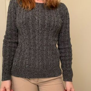 Gray Cabled Boyfriend Sweater